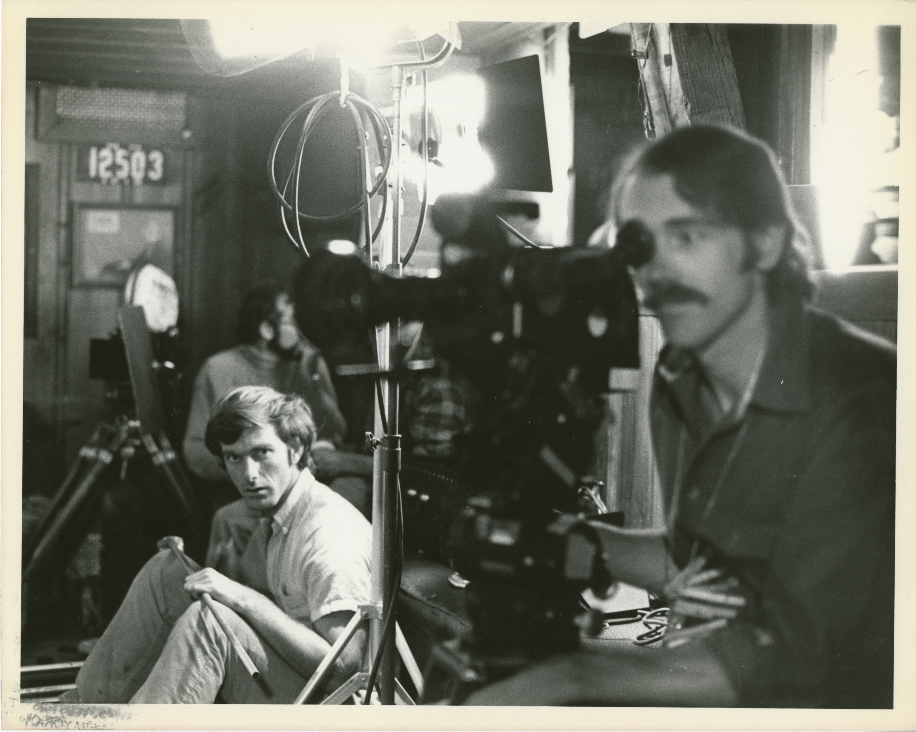 "Director John Sayles and cinematographer Austin De Besche during the filming of ""Return of the Secaucus 7"" (1979). Image courtesy of the Special Collections Library at the University of Michigan"