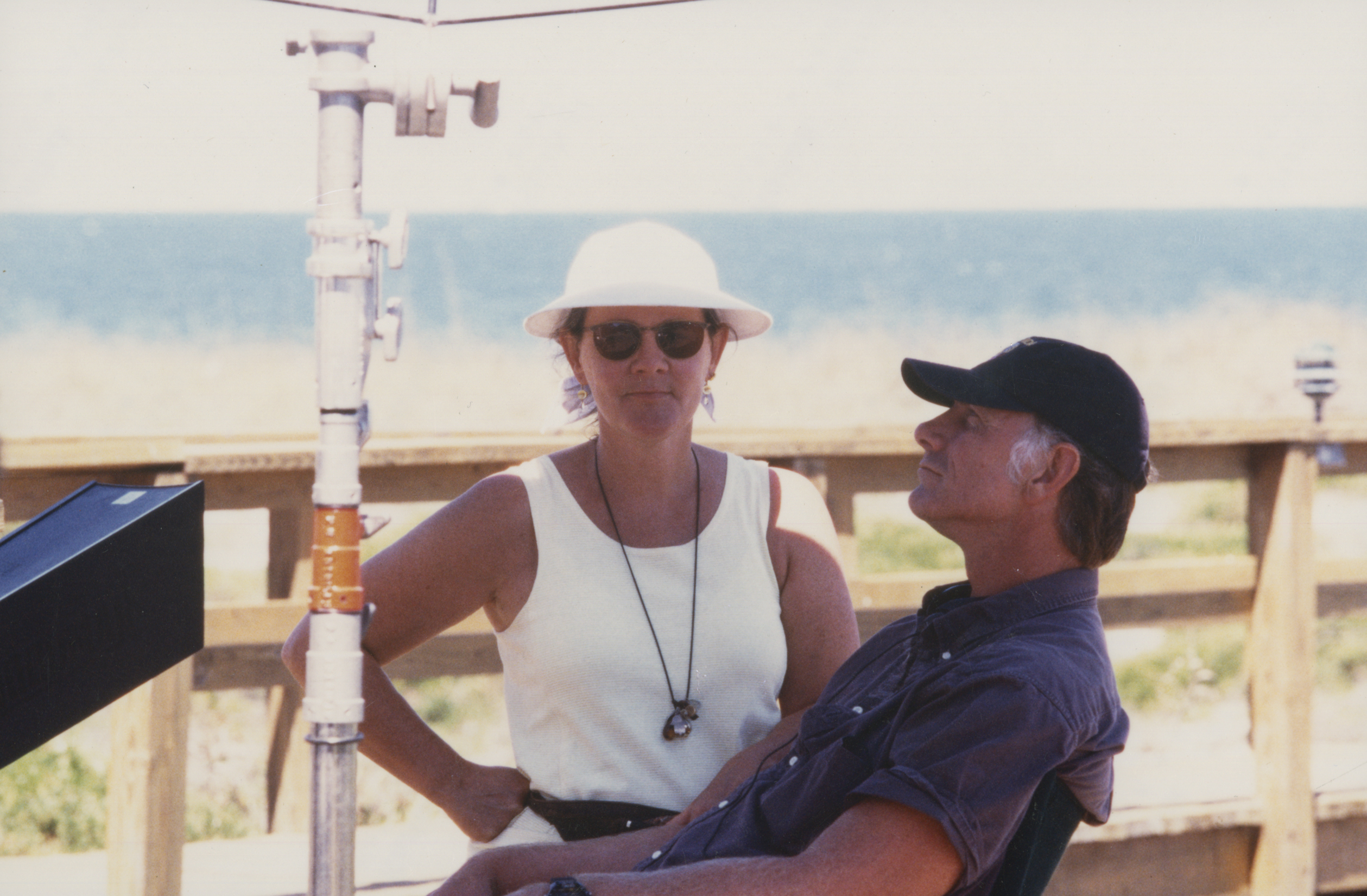 "Maggie Renzi and John Sayles on location during the filming of ""Sunshine State ""(2002). Image courtesy of the Special Collections Library at the University of Michigan"