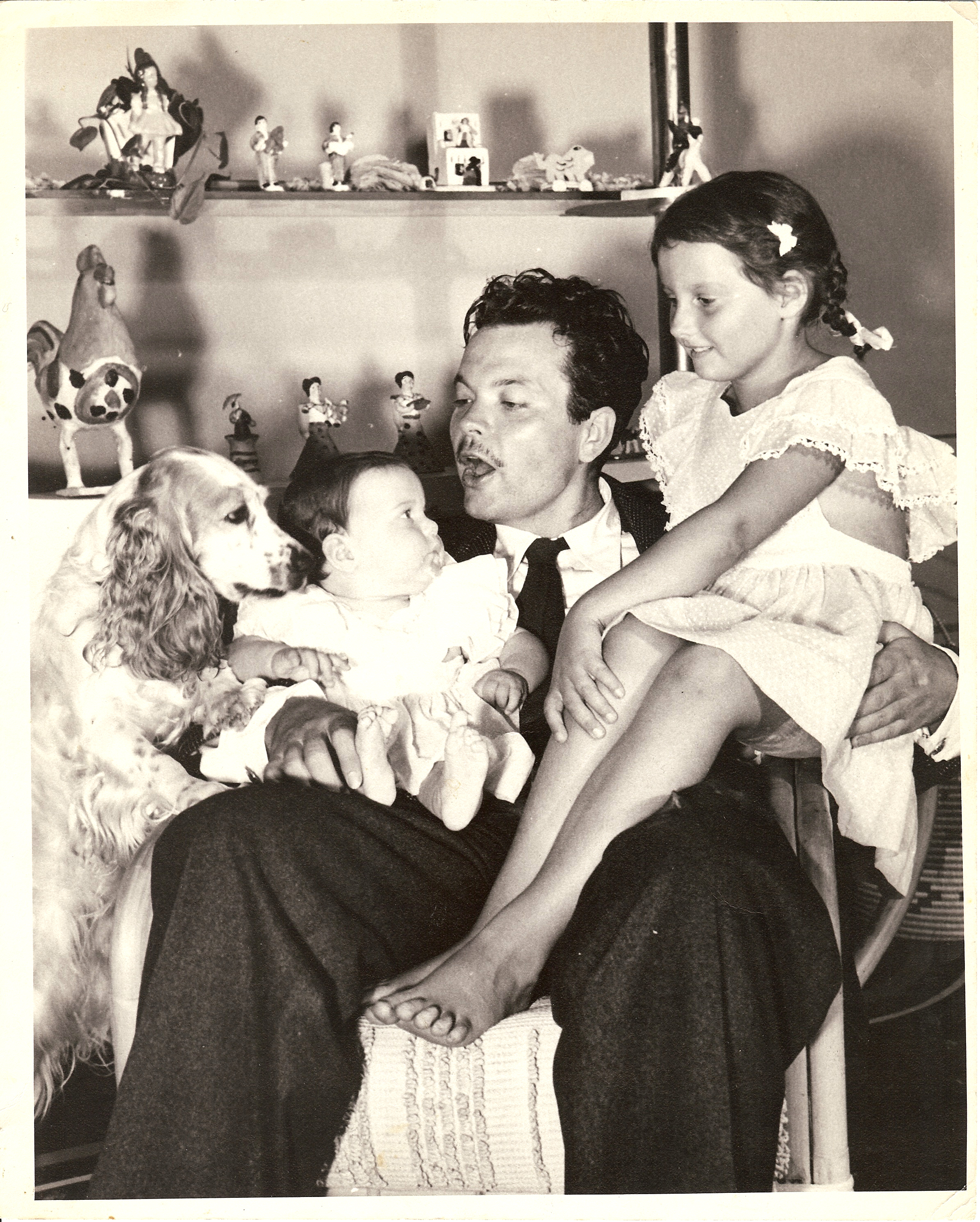 Family man Orson Welles, 1945, pictured with his two daughters, Chris Welles Feder (right) from his marriage to Virginia Nicolson, and infant Rebecca Welles Manning, from his marriage to actress Rita Hayworth. Image courtesy of the Special Collections Library at the University of Michigan