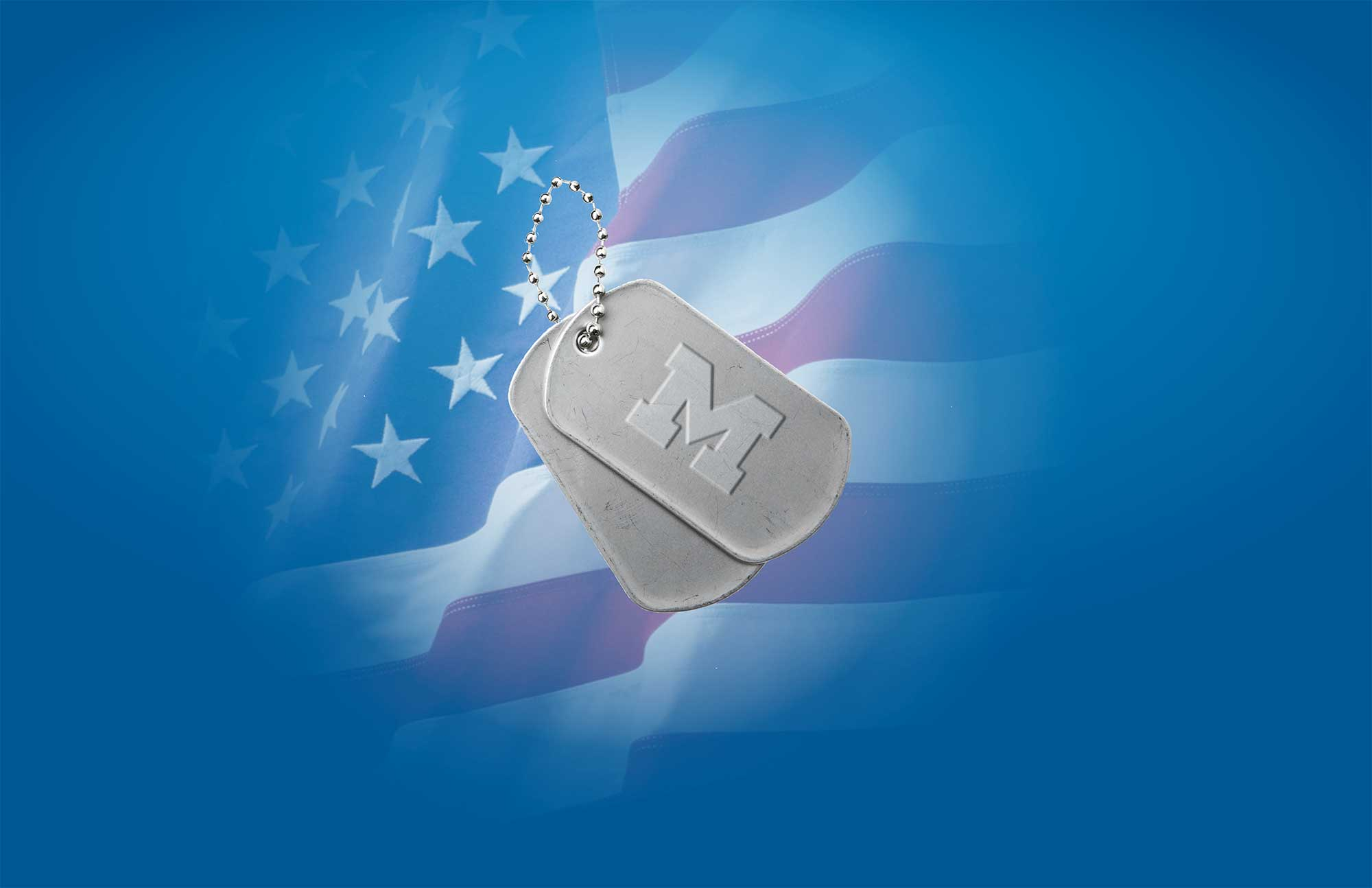"""Collage image featuring the University of Michigan """"Block M"""" embossed on dog tags and superimposed onto an American flag."""