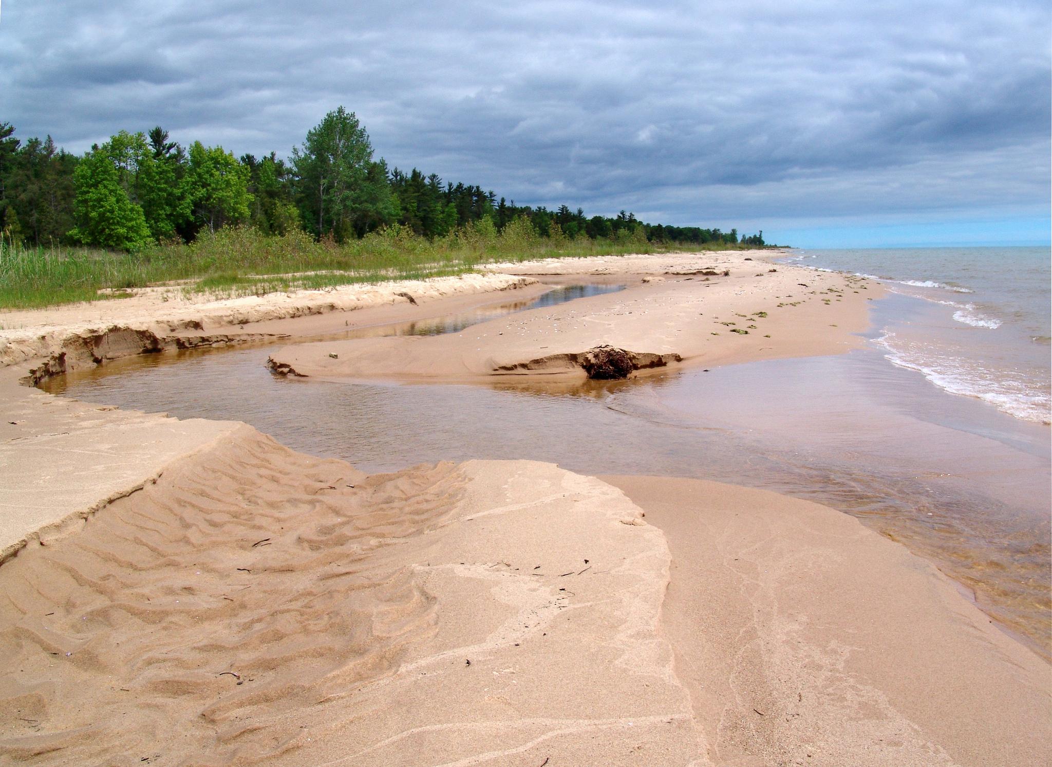 Beach at MDOT roadside park, north of Oscoda, MI. Lake Huron. Image credit: Michigan Sea Grant