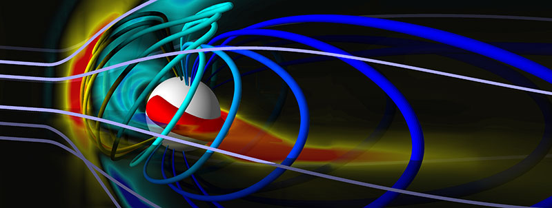 Simulation results show the solar wind in gray with Earth's magnetic field in shades of blue and yellow, corresponding to different pressures. The white ball is 2.5 times the size of Earth. Visualization created by Darren De Zeeuw, Dept. of AOSS