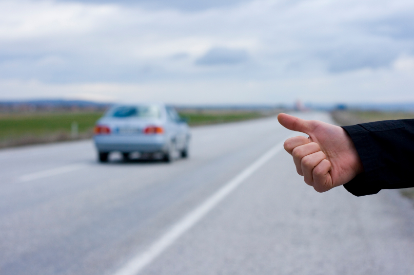 Hitchhiking. (stock image)