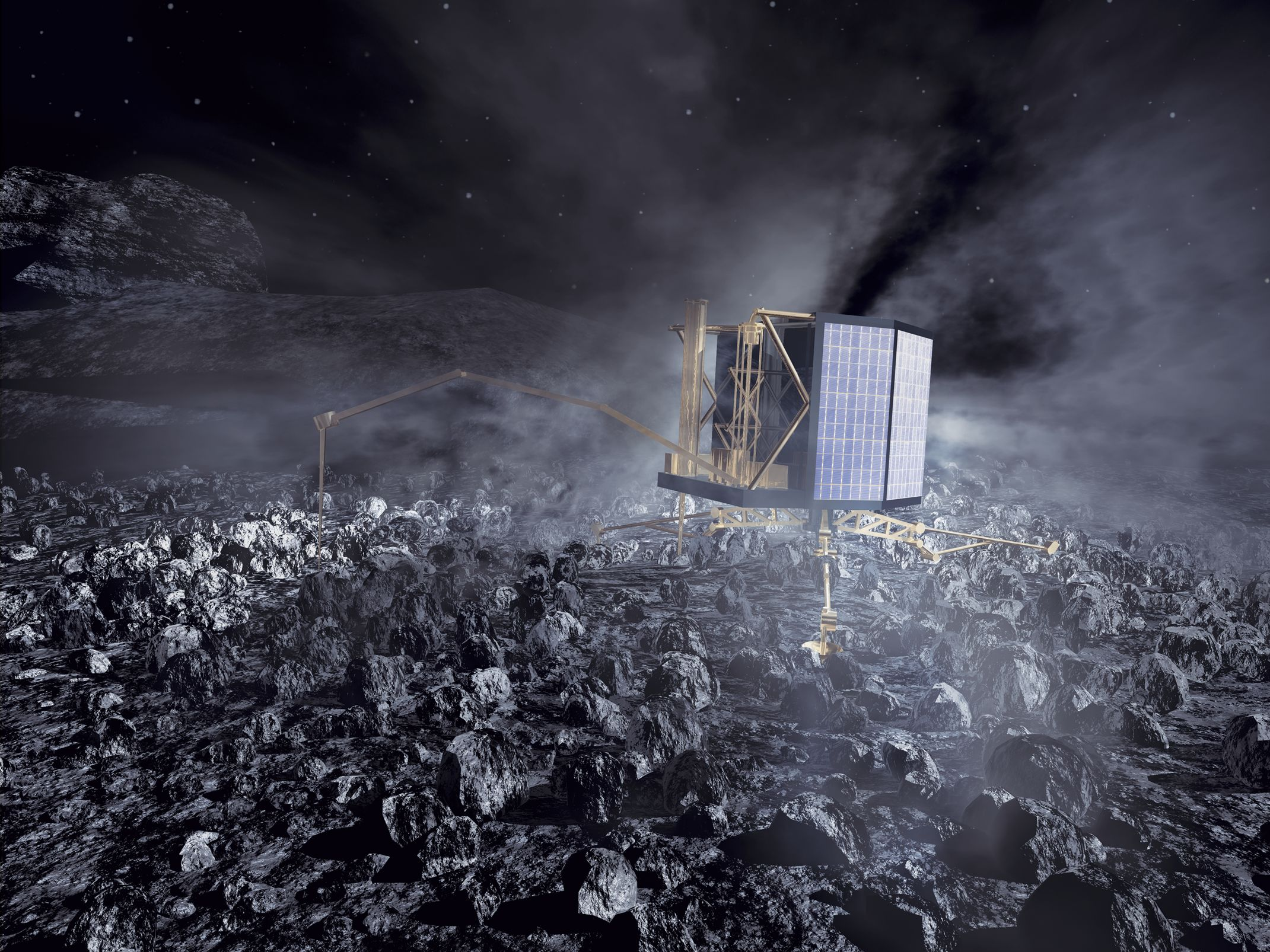 An artists interpretation of the Rosetta mission lander, named Philae, on the core of comet 67P/Churyumov-Gerasimenko. It's expected to land in November. Image credit: ESA / AOES Medialab