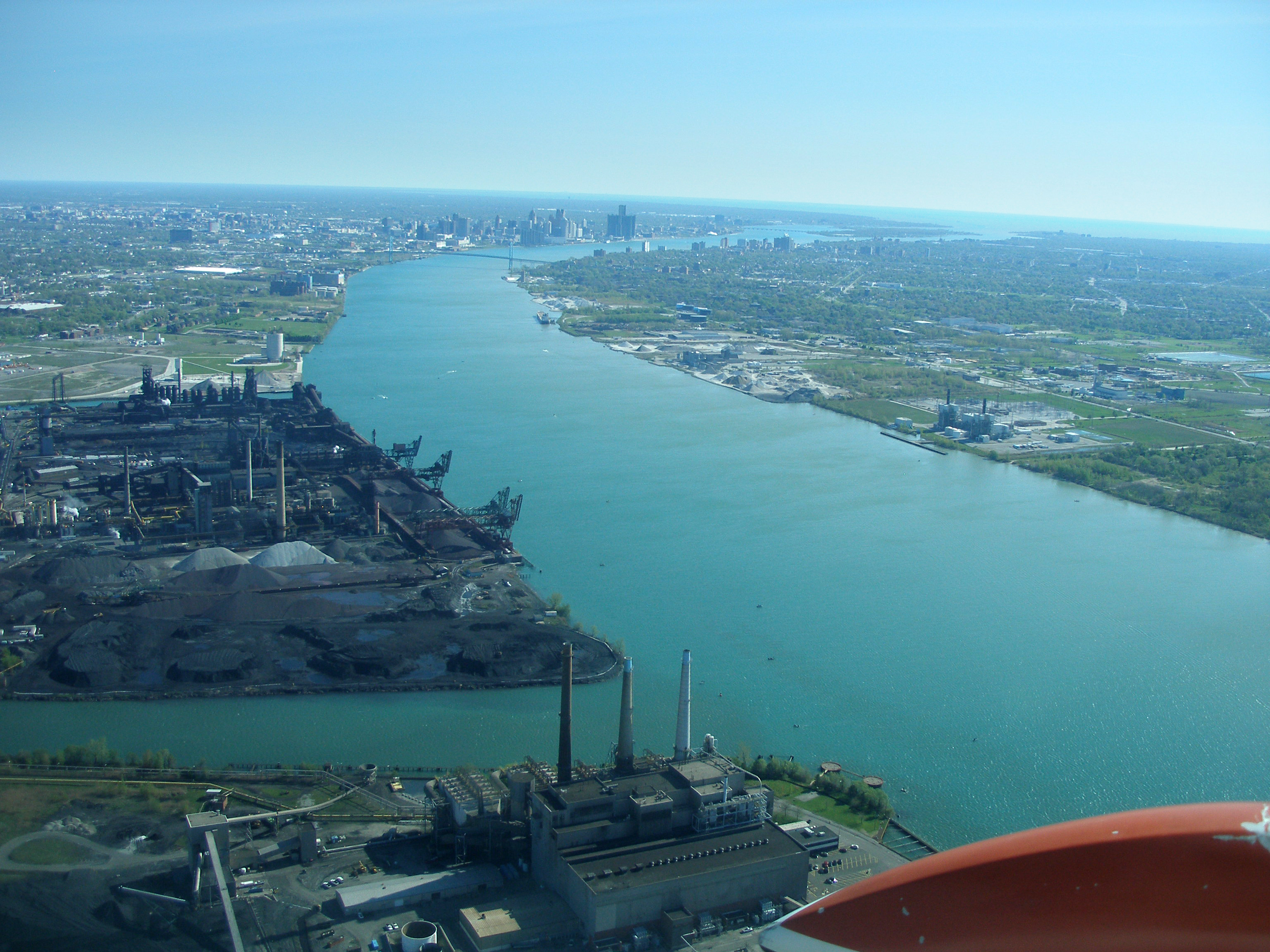 The Detroit River, looking upstream from the mouth of River Rouge toward downtown Detroit. Image credit: Michigan Sea Grant