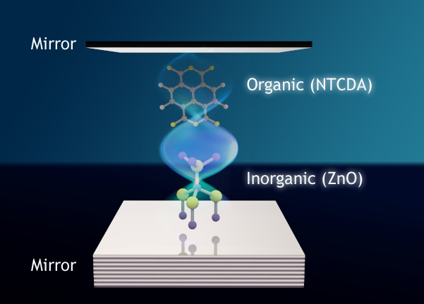 In an optical cavity -- a filament lined with mirrors -- researchers have used light to bind together quantum mechanical states of two disparate materials. The result could one day enable more robust, efficient solar cells and lighting solutions. Image credit: Tal Galfsky, CUNY