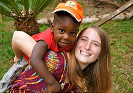 Peace Corps volunteer Marissa Falk in her community in Cameroon. Image courtesy Marissa Falk