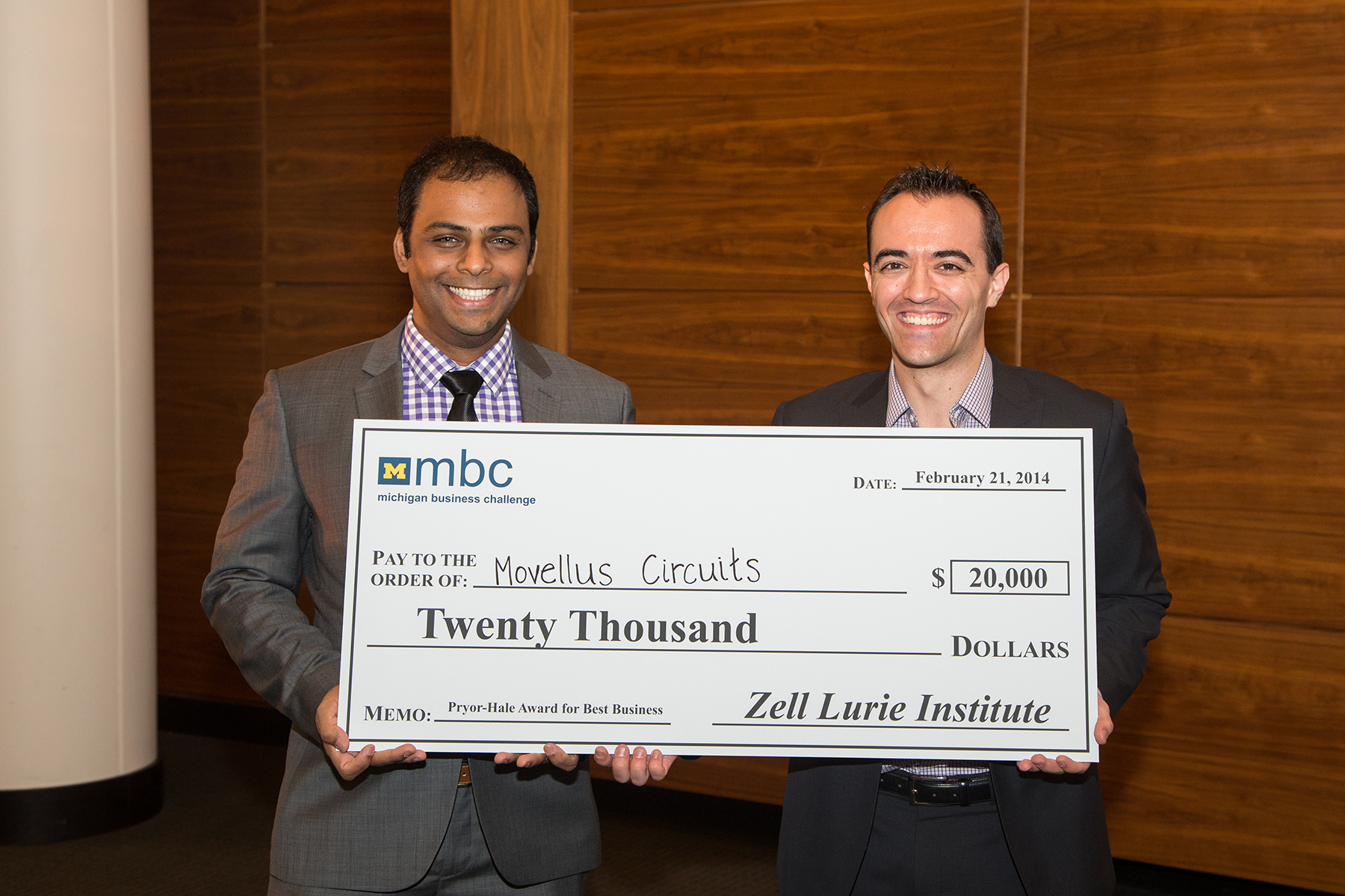 Pryor-Hale Award for Best Business for $20,000 went to Movellus Circuits represented by Muhammad Faisal (EECS PhD '14) and Daniel Andersen (MBA '14). Image credit: Scott Soderberg