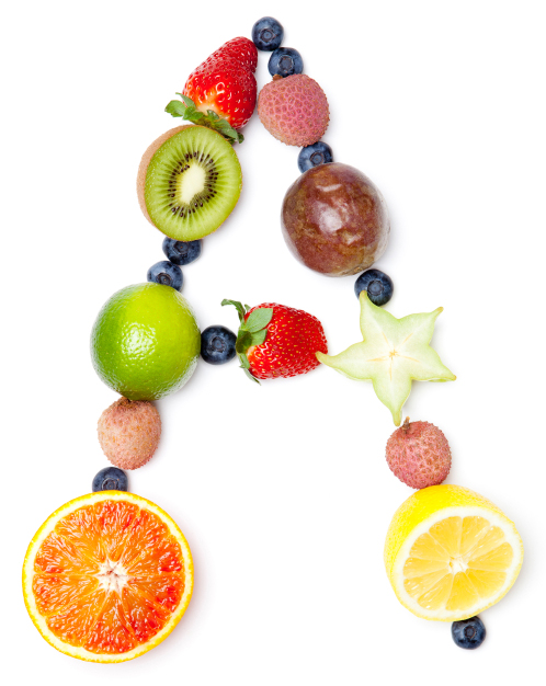 Letter A made of different fruit. (stock image)