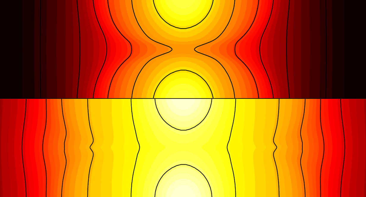 The top of this image shows how early in the heating, magnetic fields, drawn as black lines, prevent heat from flowing easily between the two yellow laser spots. Later in the heating, as depicted on the bottom half, the moving magnetic fields continually connect and provide a channel for heat to flow between the two laser spots. This newly discovered magnetic behavior could advance nuclear fusion. Image credit: Joglekar, Thomas, Fox and Bhattacharjee