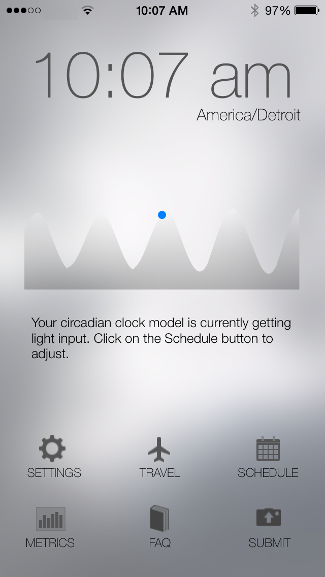 Screenshot of Entrain iOS app's circadian clock model screen.