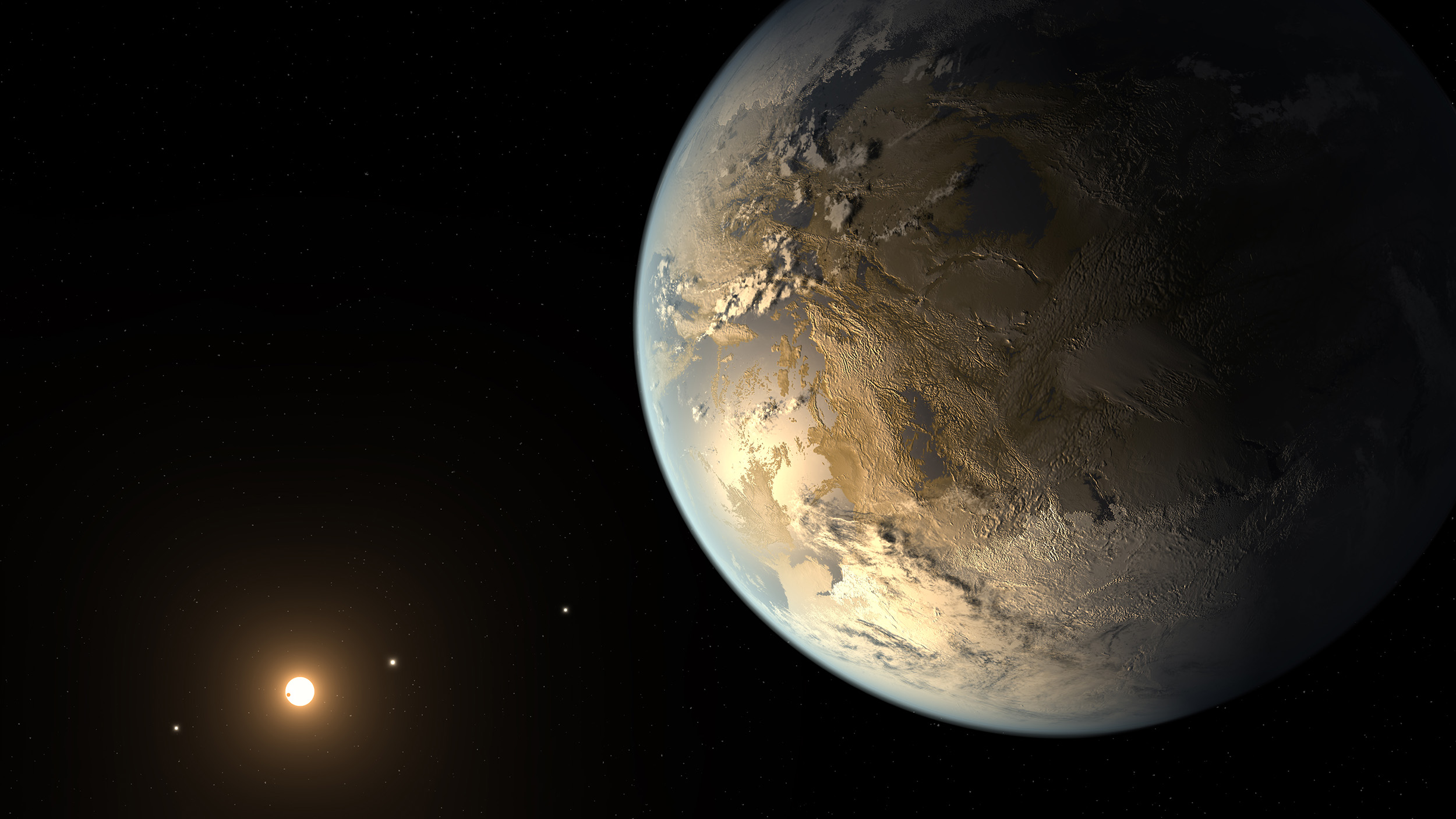 An artist's conception of the newly discovered exoplanet Kepler-186f orbiting the red dwarf star Kepler-186. The planet is the first Earth-sized world to be found orbiting a star at a distance that would allow it to harbor liquid water, a necessary ingredient for life as we know it. Image credit: NASA/Ames/JPL-Caltech/T. Pyle