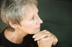 A senior women thinking. (stock image)