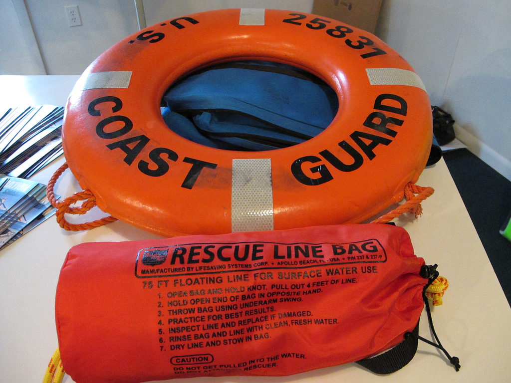 Life-saving devices: a ring buoy and a throw bag. Image credit: Michigan Sea Grant