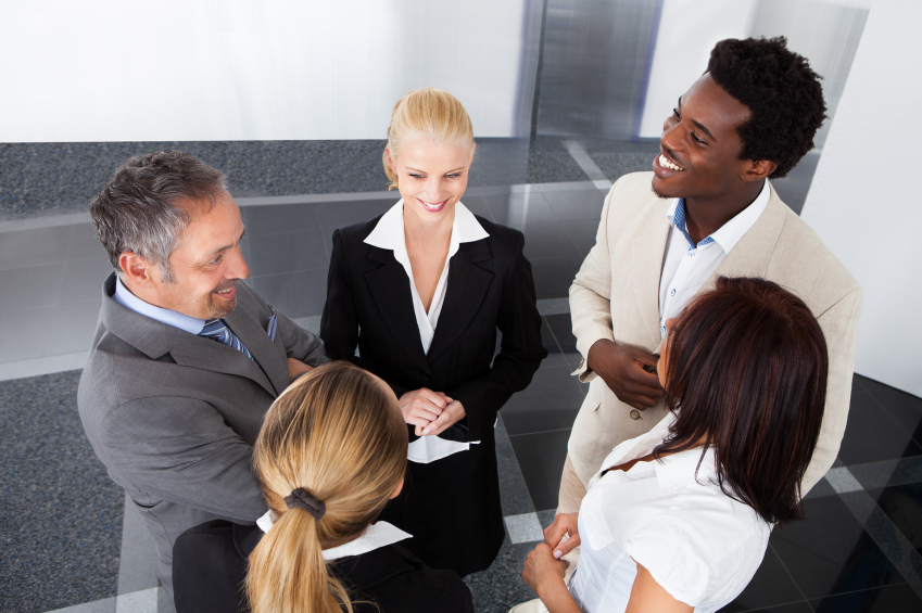 A diverse group of business professionals chatting. (stock image)