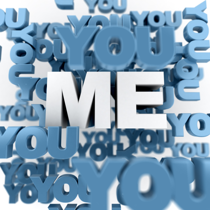 Rendering of the word me in white surrounded by lots of yous in blue. (stock image)