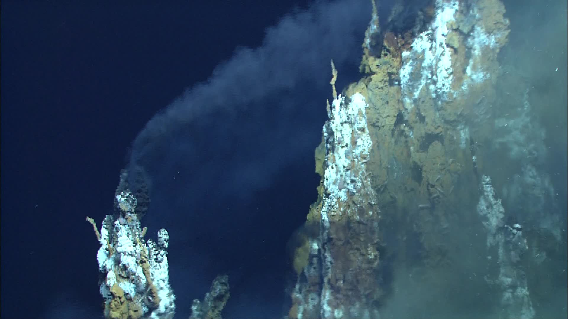 "Black smoke from the top of a ""chimney"" in the Lau Basin in the western Pacific Ocean. Water samples collected by an unmanned submarine revealed how viruses hijack deep-sea bacteria at hydrothermal vents. Image courtesy of MARUM, University of Bremen and NOAA-Pacific Marine Environmental Laboratory."