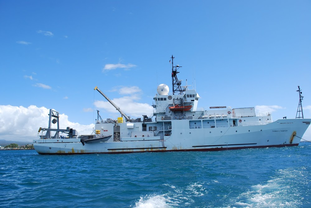 The research vessel Thomas G. Thompson, which visited hydrothermal vent sites in the western Pacific Ocean Photo by Lucia Upchurch.