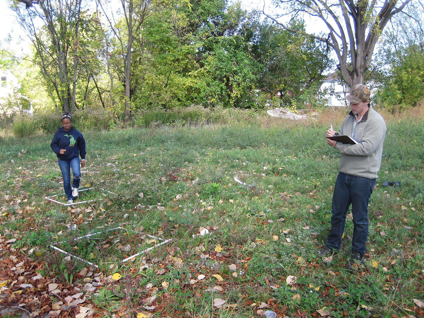 U-M researchers Tiffany Carey (left) and Ben Connor Barrie estimate ragweed density in vegetation plots on a vacant lot in Detroit. Image credit: Daniel Katz