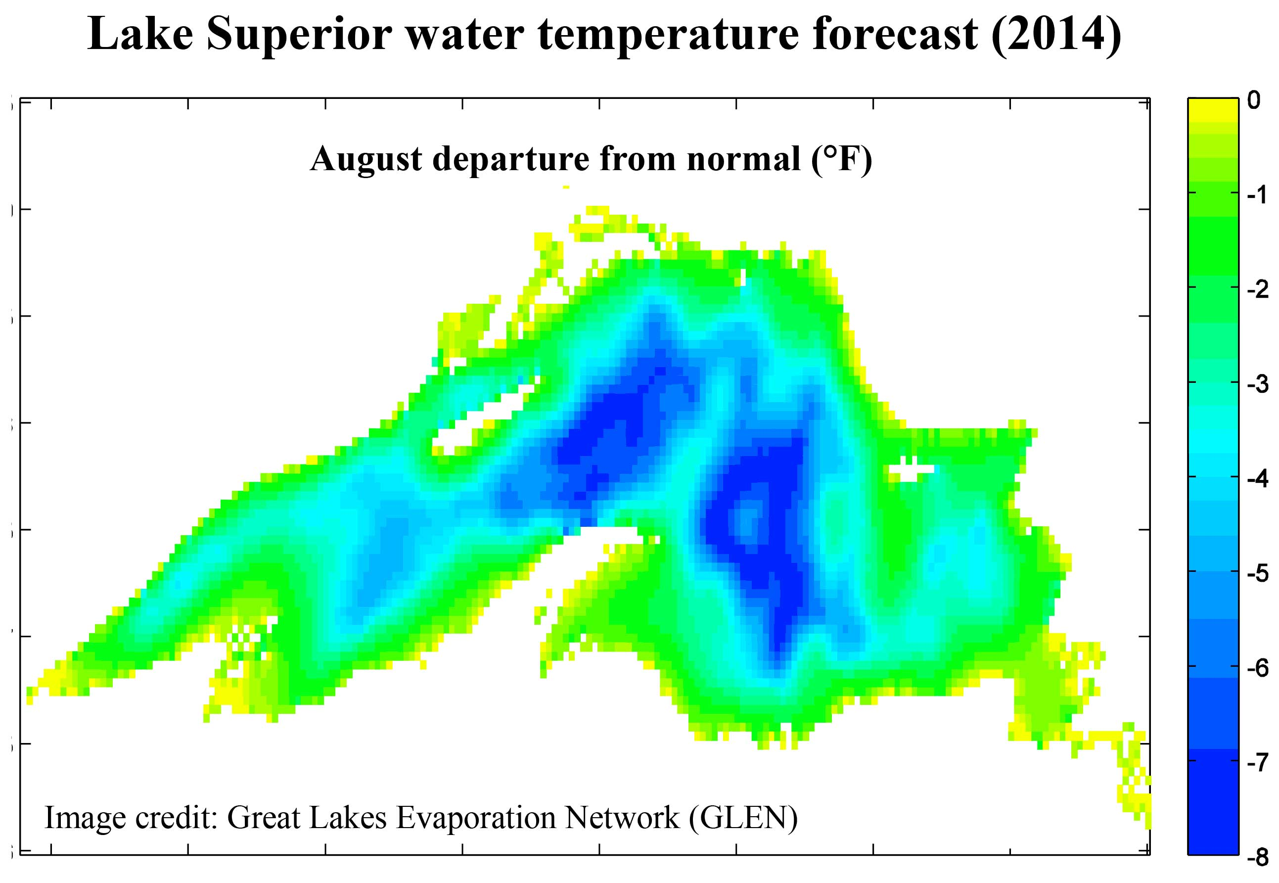 ke Superior water temperature forecast (2014). August departure from normal (°F). Image credit: Great Lakes Evaporation Network (GLEN)