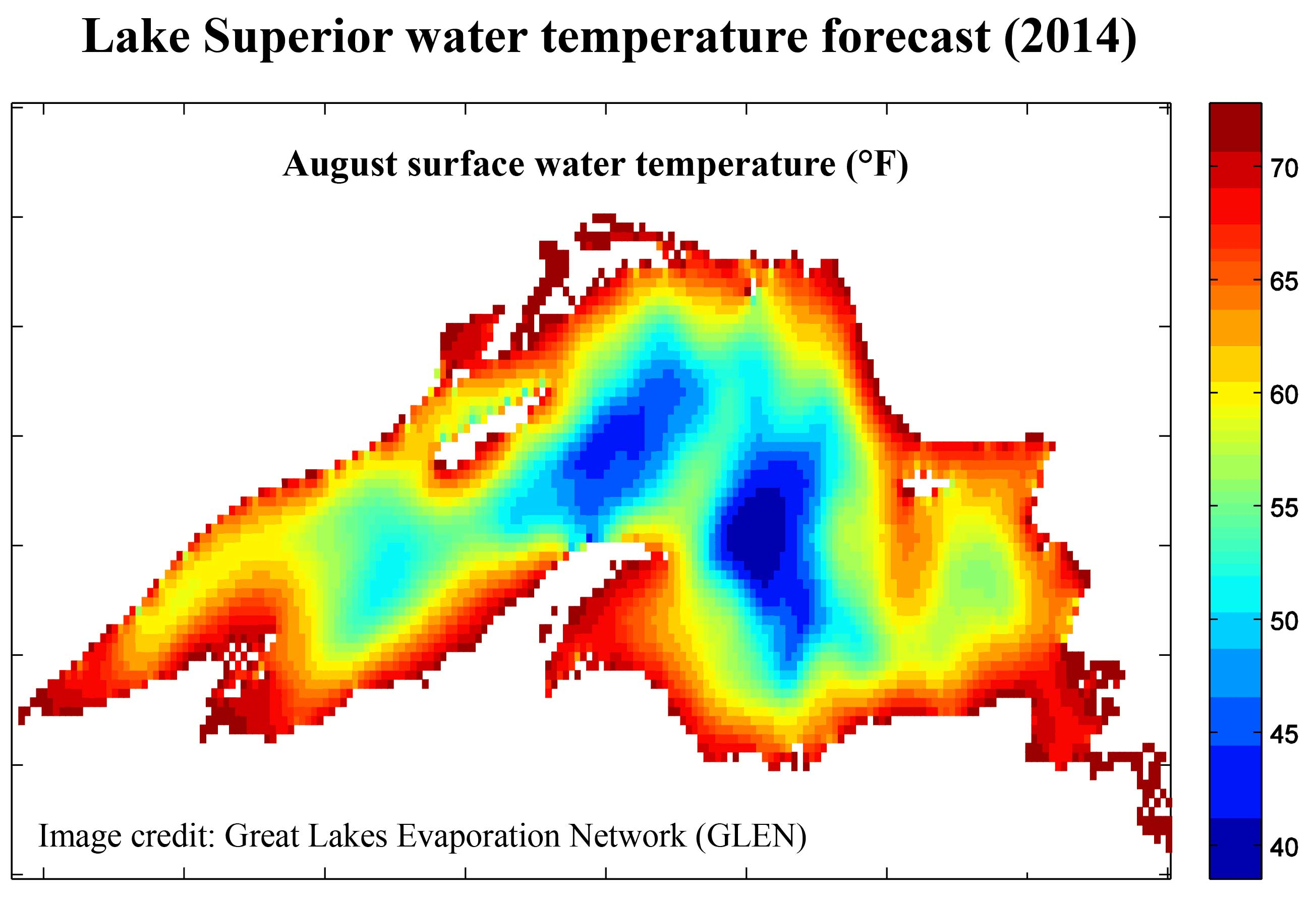 Lake Superior water temperature forecast (2014). August surface water temperature (°F). Image credit: Great Lakes Evaporation Network (GLEN)