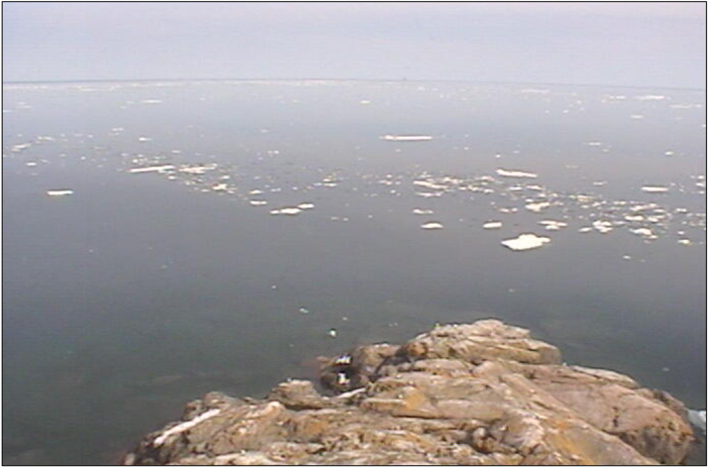 Photo from Granite Island Light Station on May 30, showing lingering ice on Lake Superior. Image credit: Great Lakes Evaporation Network (GLEN)