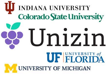 Logos for Indiana University, Colorado State University, Unizen, Florida State University, and the University of Michigan