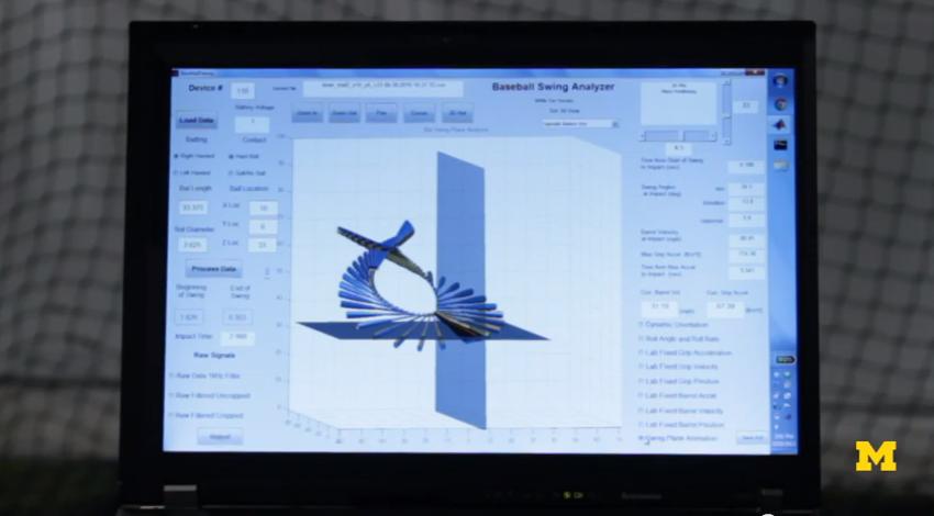 A computer screen displaying a baseball swing using sensor technology.