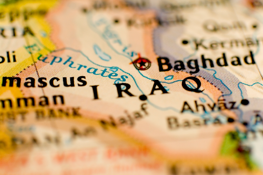 Cropped picture of a map of Iraq. (stock image)