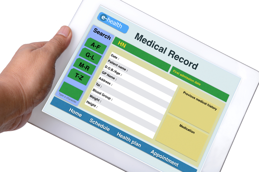 A medical record is displayed on a tablet computer. (stock image)