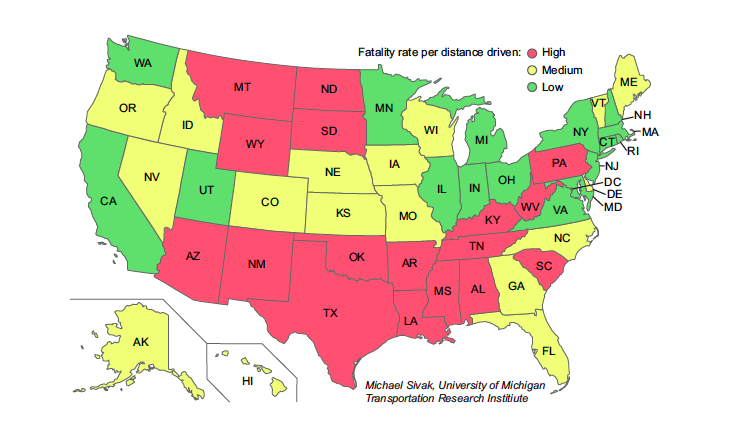 Fatality rates per distance driven in the individual states, 2012.