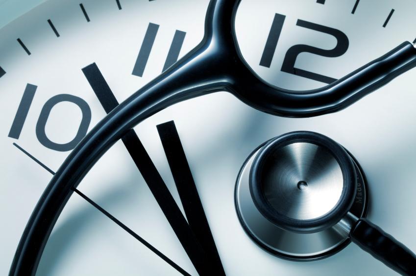 Clock with stethoscope. (stock image)