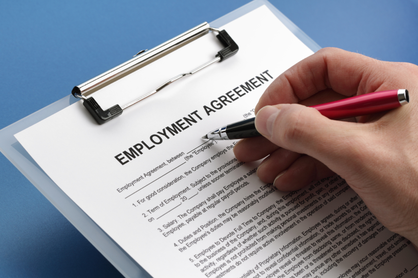 Employment agreement. (stock image)