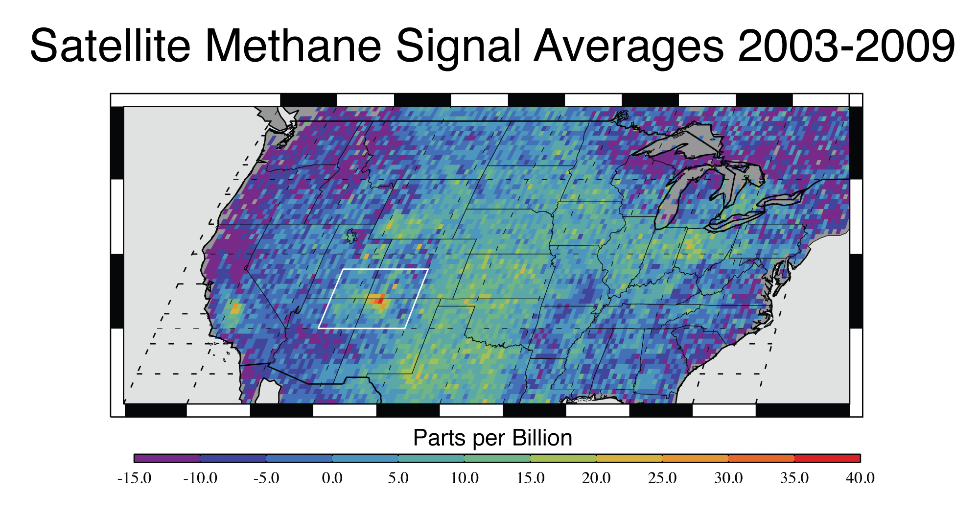 This map shows anomalous U.S. methane emissions (that is, how much the emissions are higher or lower than average) for 2003-2009, as measured by SCIAMACHY. Purple and dark blue areas are below average. Pale blue and green areas are close to normal or slightly elevated. Yellows and red indicate higher-than-normal anomalies, with more intense colors showing higher concentrations. The Four Corners area is the only red spot on the map. Image credit: NASA/JPL-Caltech/University of Michigan