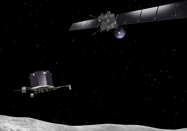 Artist's impression of the Rosetta orbiter deploying the Philae lander to comet 67P/Churyumov–Gerasimenko. Image credit: European Space Agency