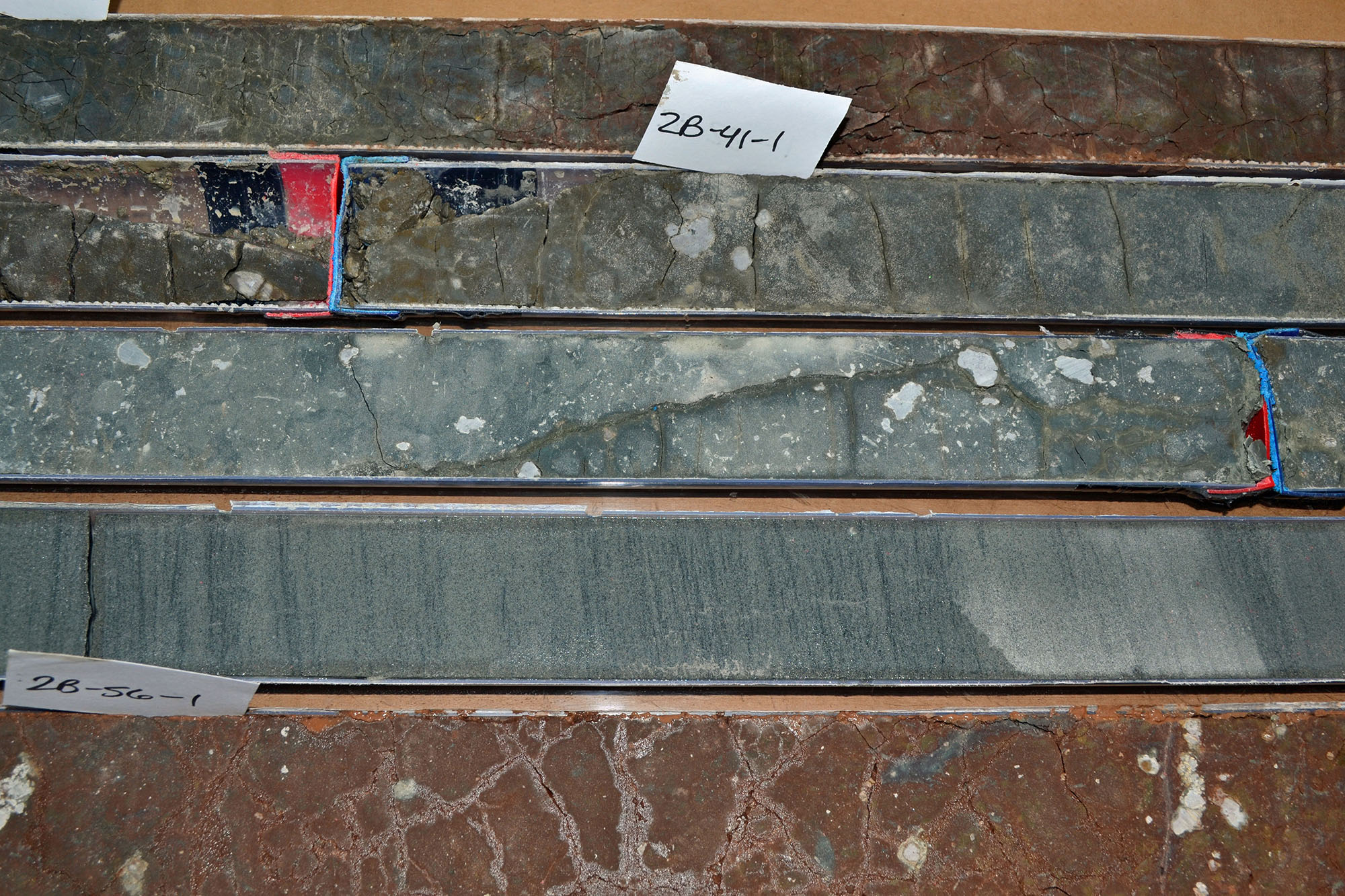 Gray, roundish nodules of carbonate or limestone in these sediment cores drilled from northern   Wyoming revealed the amount of carbon in the atmosphere, oceans, plants and soils during the   Paleocene-Eocene global warming episode some 56 million years ago. A University of Utah-led study   concluded the episode was more like modern, human-caused global warming than previously thought. Image credit: Bianca Maibauer, University of Utah