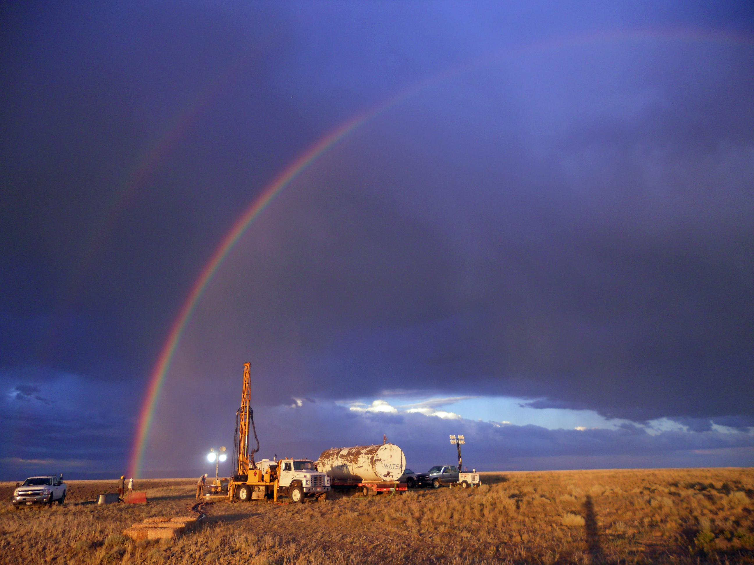 A rainbow appears over National Science Foundation-funded drilling site in Wyoming's Bighorn   Basin. In a study led by University of Utah geochemist Gabe Bowen, sediment cores drilled at the site   revealed a global warming episode almost 56 million years ago resembled today's in terms of the size   and duration of carbon releases to the atmosphere. Image credit: Elisabeth Denis, Pennsylvania State University
