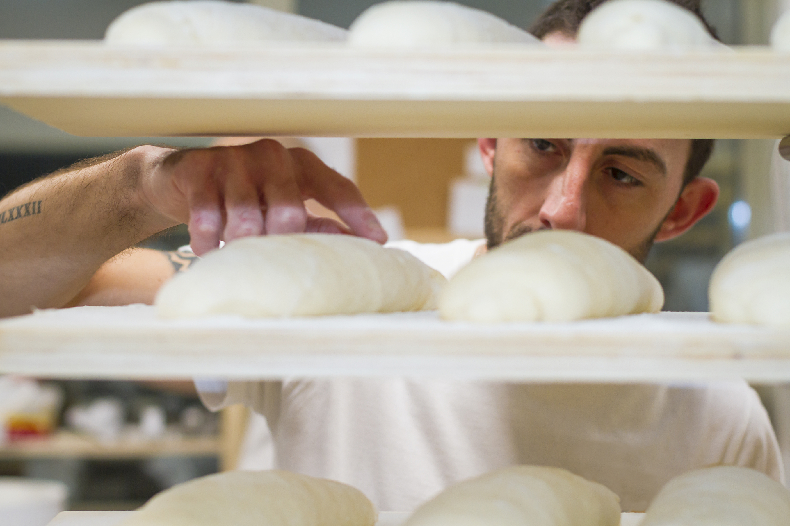 Baker checking bread dough. (stock image)
