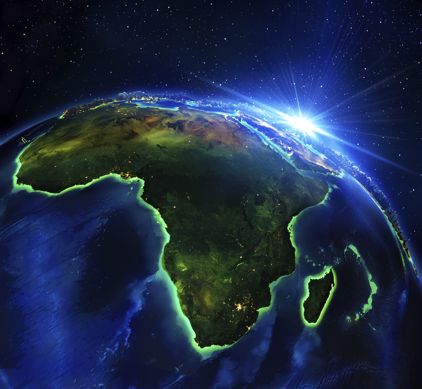 Rendered image of Earth rotated to show Africa. (stock image)