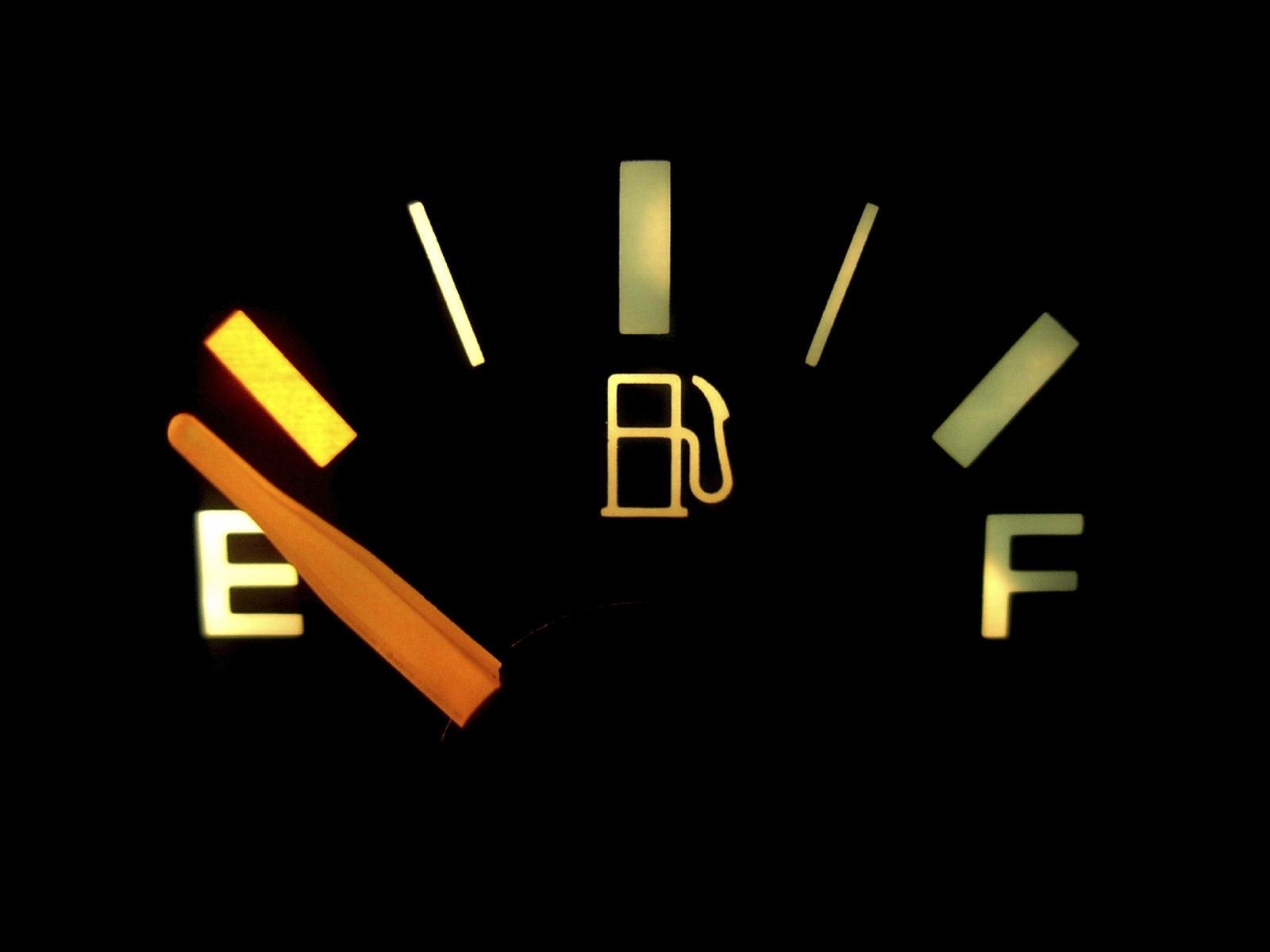 A gas gauge showing empty. (stock image)
