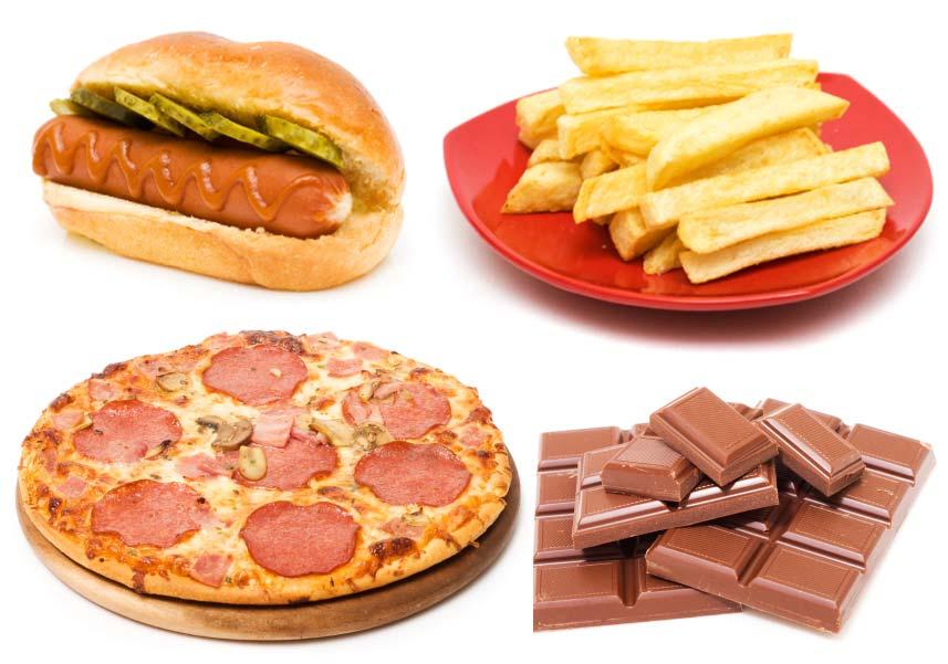 Uma imagem de cachorro-quente, batata frita, pizza e chocolate. (imagem)