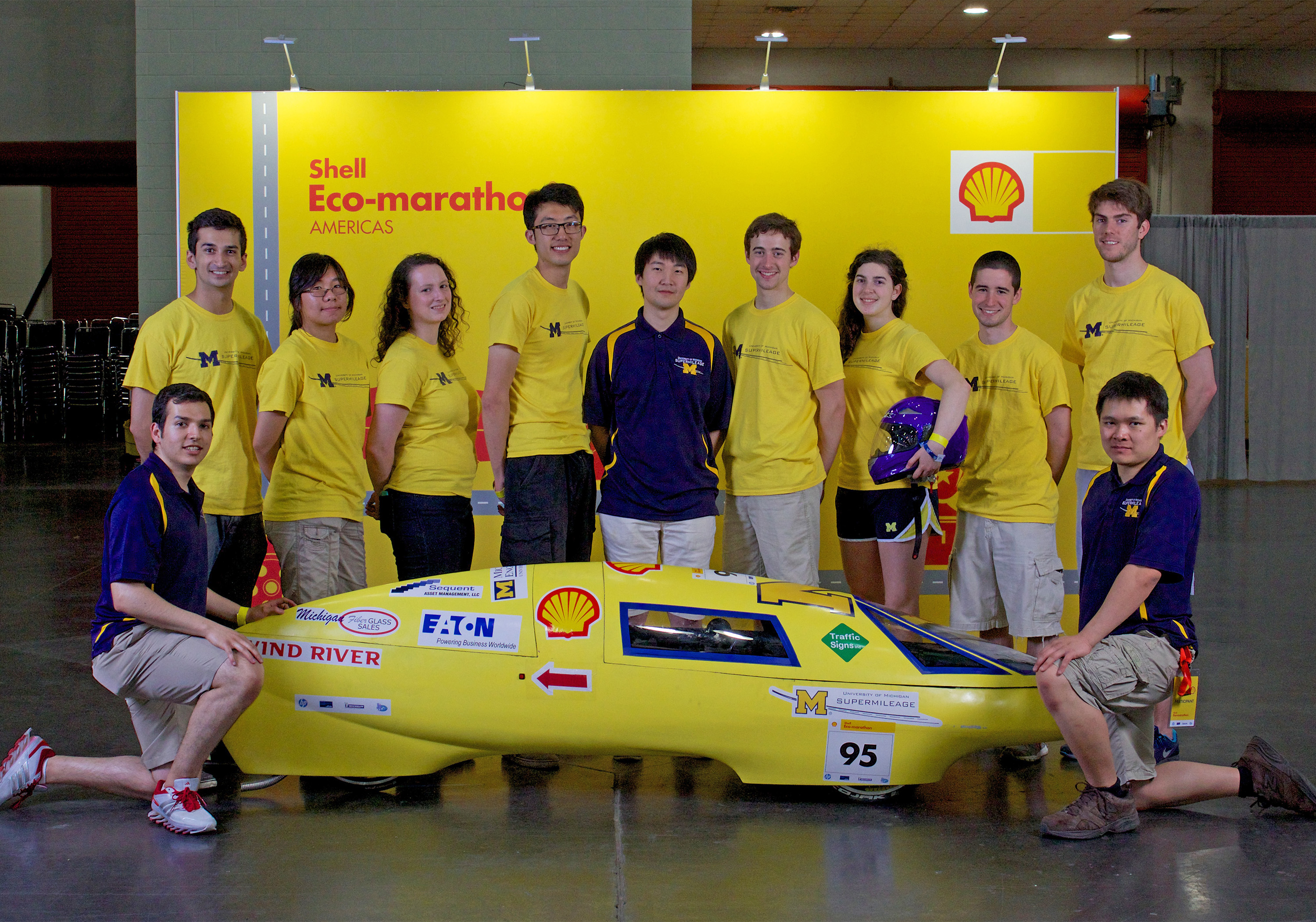 Taken at the 2014 Shell Eco­Marathon, the U­M Supermilage team poses with  their vehicle. Image courtesy: University of Michigan Supermileage Team
