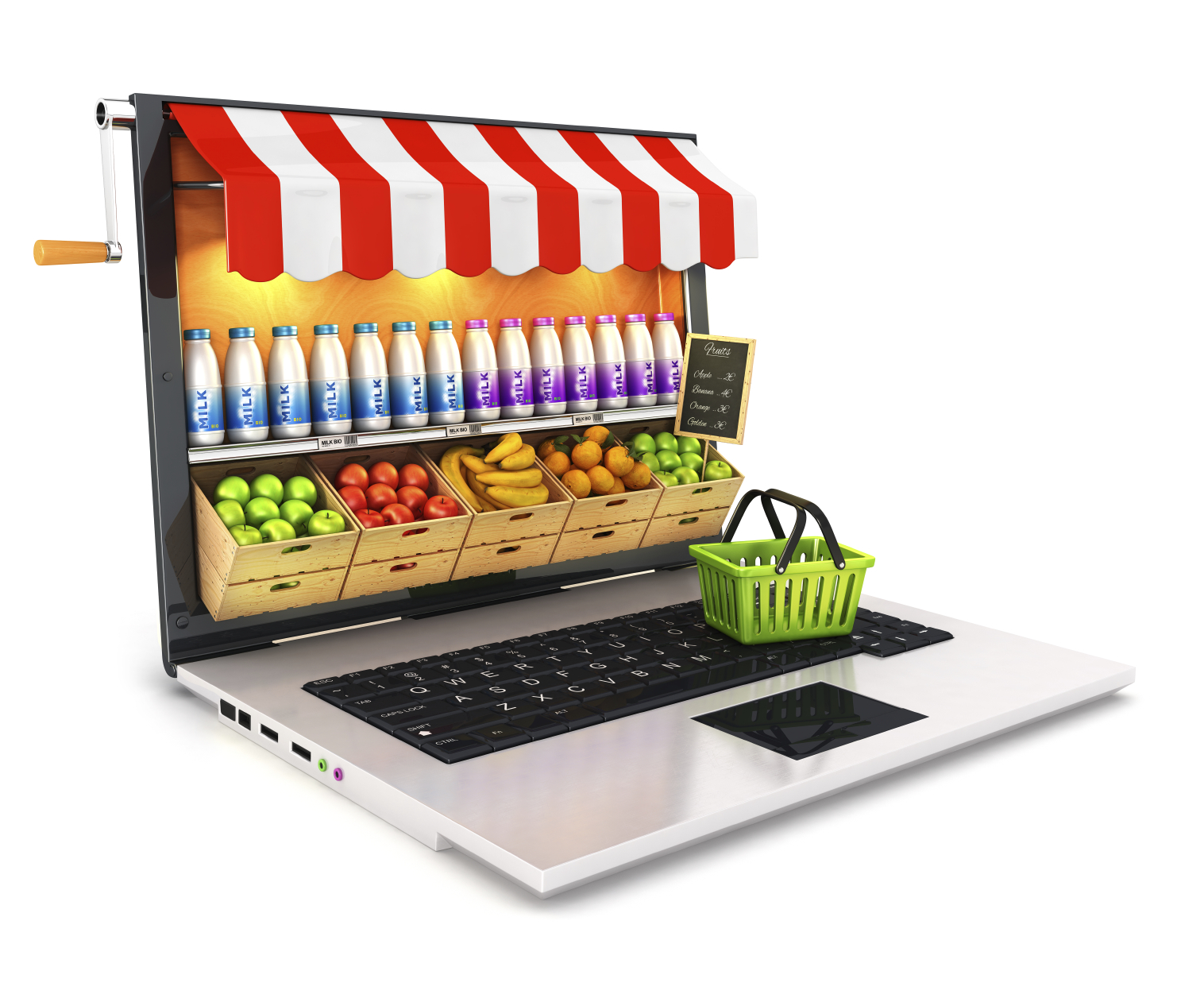A grocery storefront is superimposed over a laptop computer screen. (stock image)