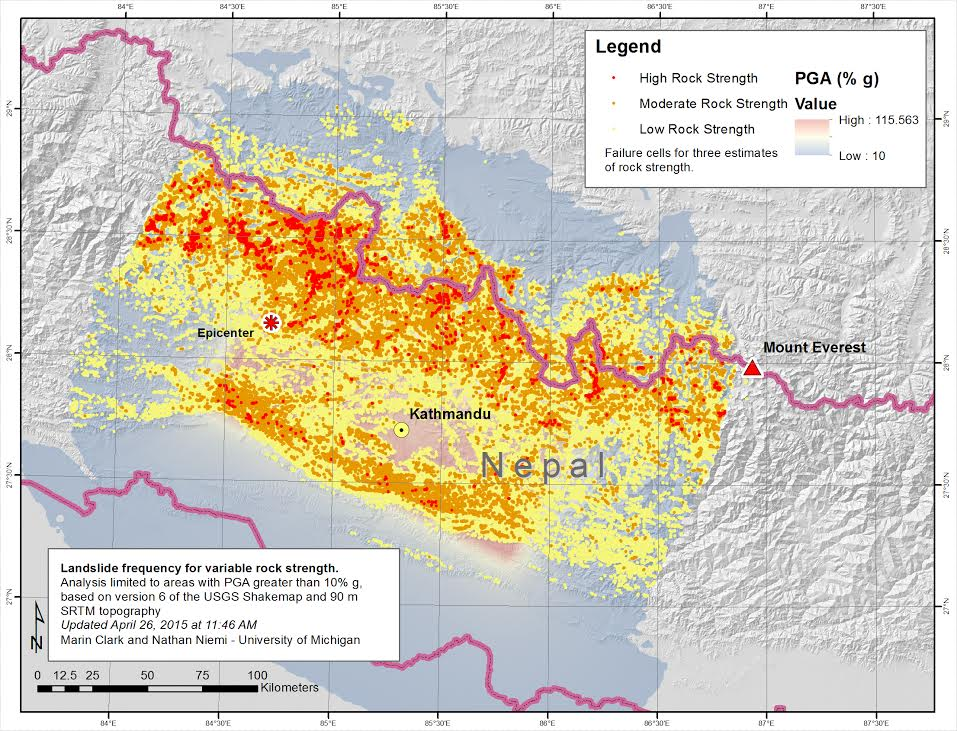 Map showing modeled landslide susceptibility for the magnitude-7.8 Nepal earthquake. The model is based on intensity of ground shaking, steepness of mountain slopes, and rock strength. Models are shown for three estimates of rock strength: red is high, orange is medium, and yellow is weak. The concentration of red dots likely correlates with the greatest risk because numerous landslides are predicted there for all values of rock strength. Image credit: Marin Clark and Nathan Niemi, University of Michigan