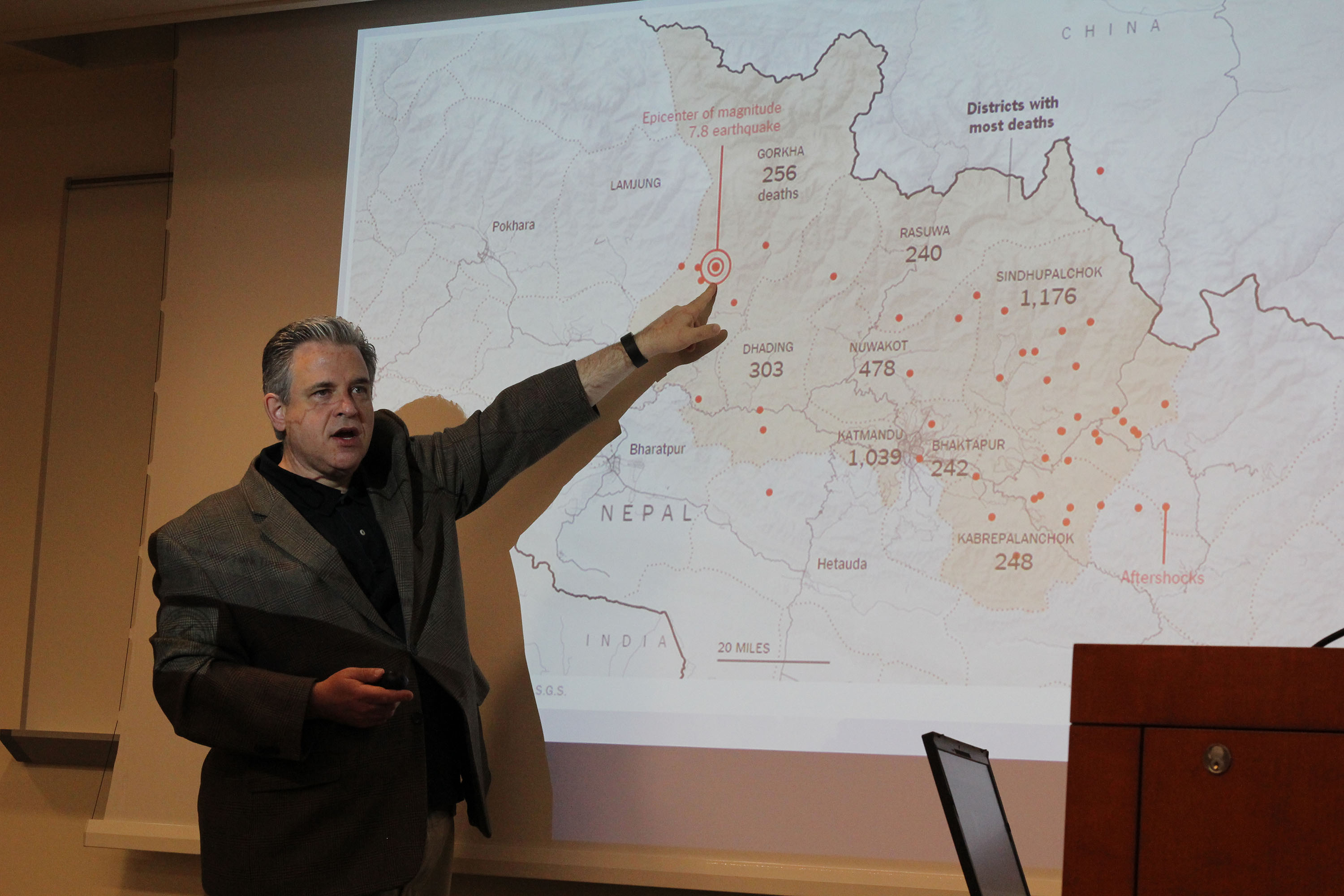 Bill Axinn briefs ISR on Nepal Earthquake and colleagues disaster relief efforts. Image credit:  Michael McIntyre