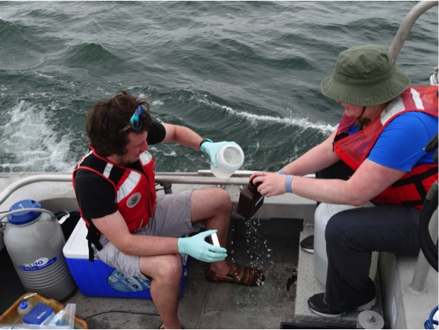 University of Michigan researchers Paul Den Uyl and Sarah Page collecting water samples on Lake Erie in summer 2014. Image credit: Tom Johengen