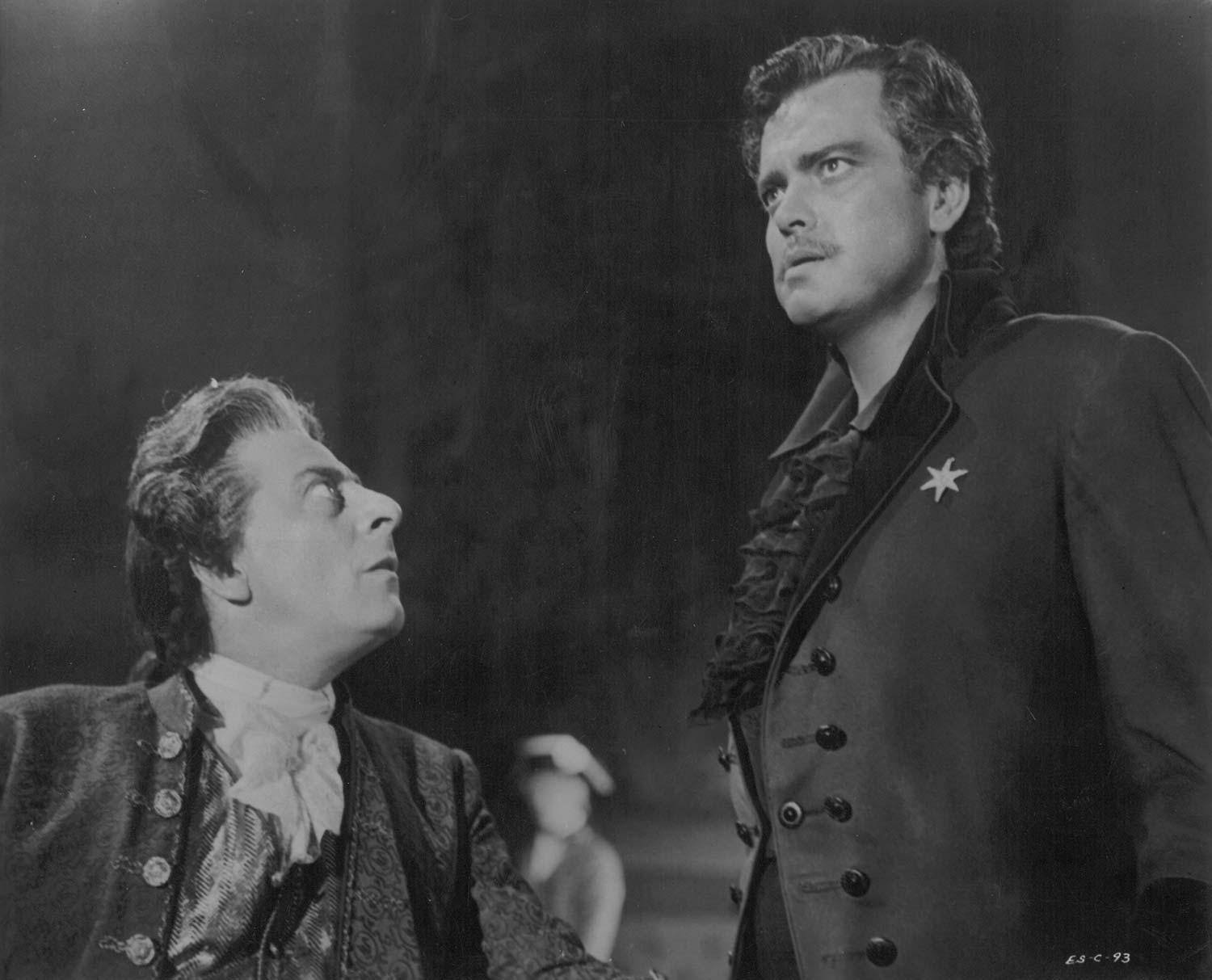 A scene from Black Magic (directed by Gregory Ratoff, 1949). Dr. Mesmer (Charles Goldner, left) hypnotizes Cagliostro (Orson Welles, right). Courtesy the University of Michigan Library (Special Collections Library)