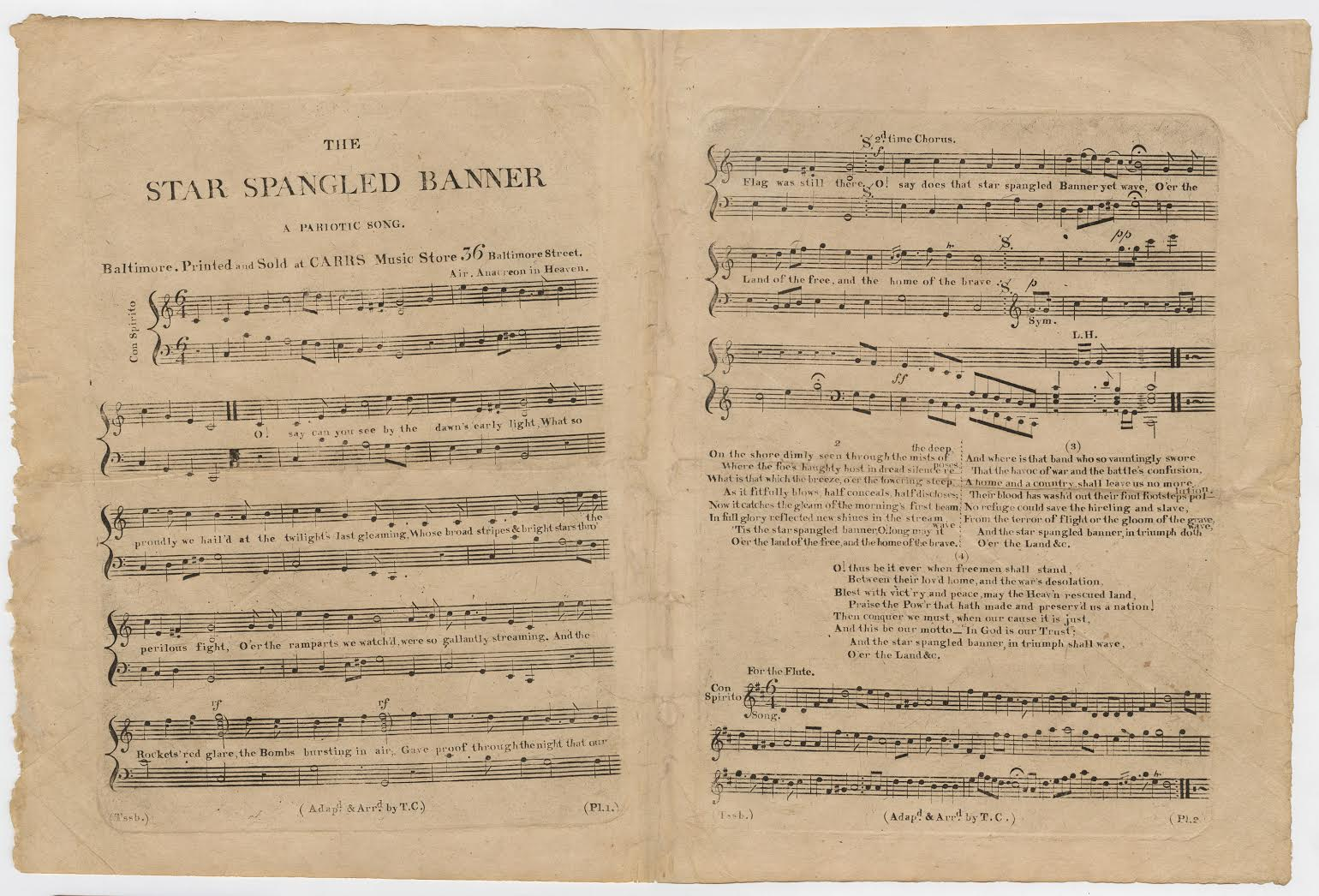 """1814 first sheet music edition of """"The Star-Spangled Banner,"""" arranged by Thomas Carr; courtesy the William L. Clements Library, University of Michigan"""