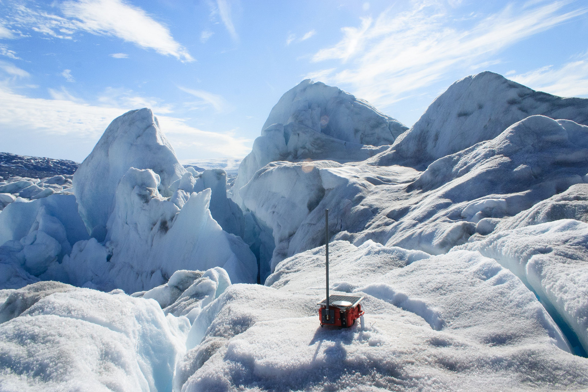 One of the 20 GPS sensors deployed on Helheim Glacier's chaotic surface. Image credit: Alistair Everett, Swansea University