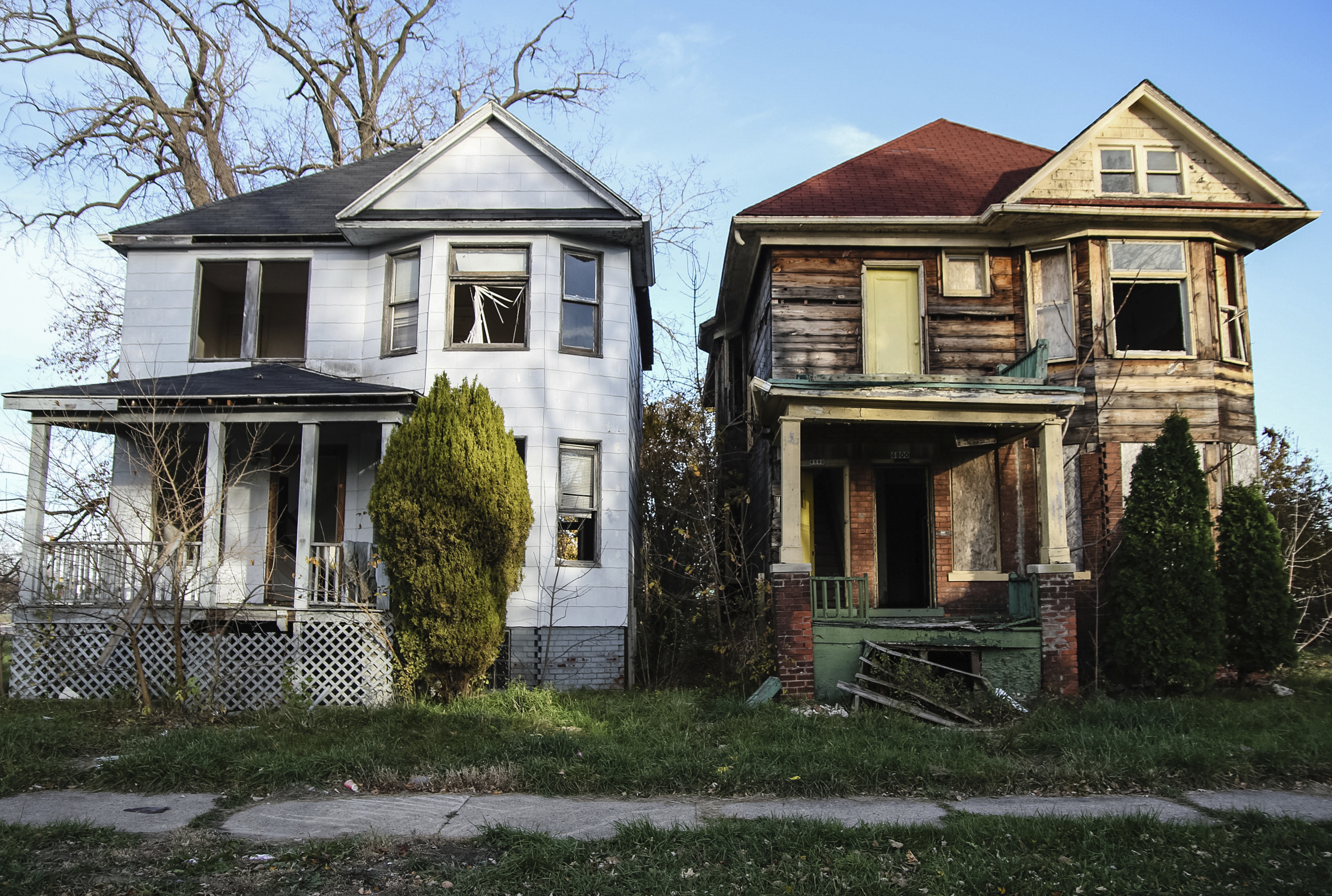 Abandoned houses in Detroit. (stock image)